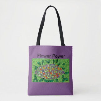 purple tote bag with floral design