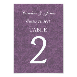 """Purple Traditional Damask Table Numbers Wedding 5"""" X 7"""" Invitation Card"""