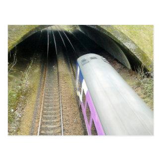 Purple Train, Railway Tracks, Tunnel, Traveling Postcard