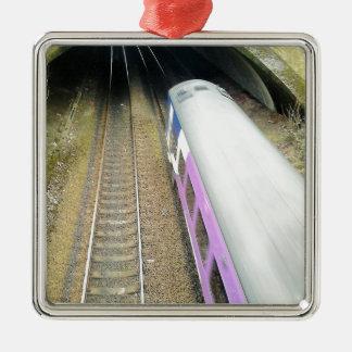 Purple Train, Railway Tracks, Tunnel, Traveling Silver-Colored Square Ornament