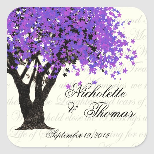 Purple Tree Dancing Blooms Square Sticker