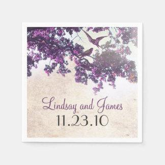 Purple Tree Love Birds Wedding Disposable Napkin