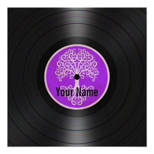 Purple Tree of Life Personalized Vinyl Record Invitation