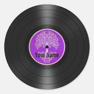 Purple Tree of Life Personalized Vinyl Record Round Sticker