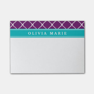 Purple Trellis Pattern Turquoise Name Post-it Notes