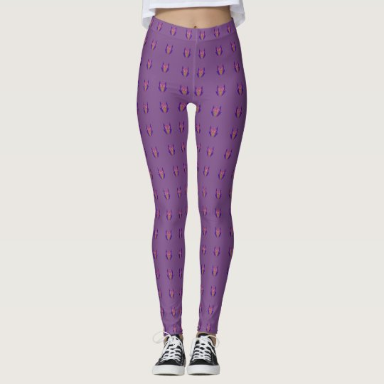 Purple Trendy Floral Classic  edgy comfortable fit Leggings