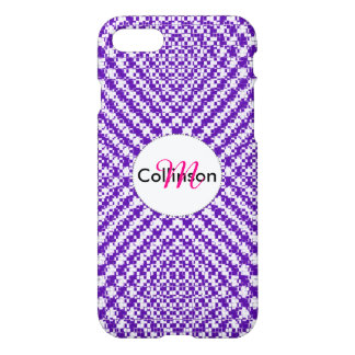 Purple Trendy Herringbone Patterned Personalized iPhone 7 Case