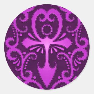Purple Tribal Ankh Classic Round Sticker
