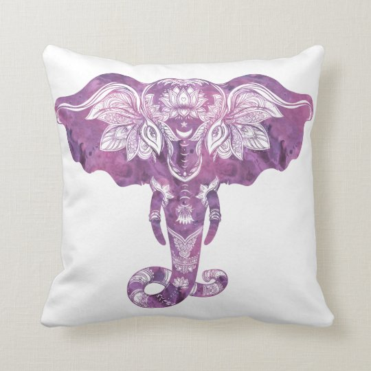 Purple Tribal Mehndi Henna Elephant Throw Pillow