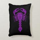 Purple Tribal Scorpion on Black Accent Pillow