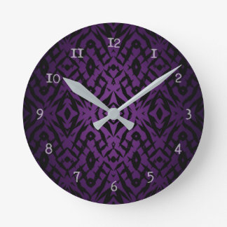 Purple tribal shapes pattern round clock