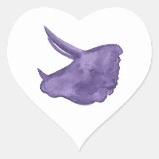 Purple Triceratops Silhouette Heart Sticker