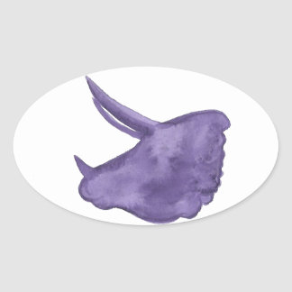 Purple Triceratops Silhouette Oval Sticker