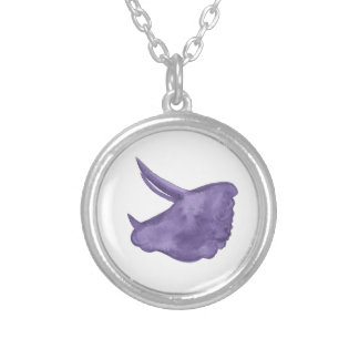 Purple Triceratops Silhouette Silver Plated Necklace