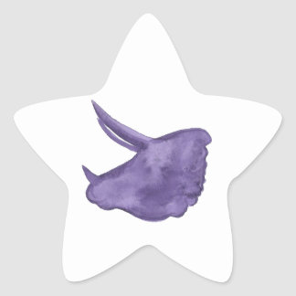 Purple Triceratops Silhouette Star Sticker
