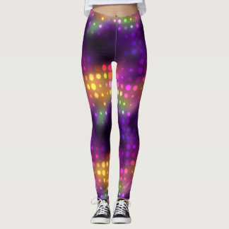 Purple Trippy disco yellow and green dots/lights Leggings