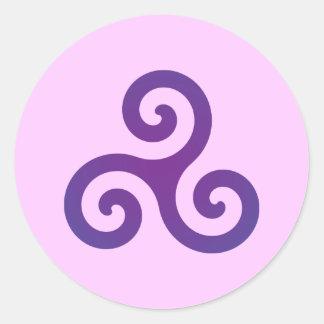 Purple Triskele Classic Round Sticker
