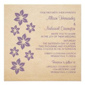 Purple Tropical Floral Wedding Invite