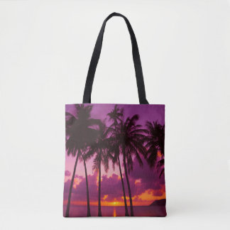 Purple Tropical Sunset 1 All-Over-Print Tote Bag