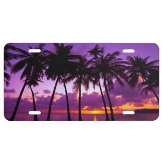 Purple Tropical Sunset 2 License Plate