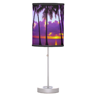 Purple Tropical Sunset 3 Table Lamp