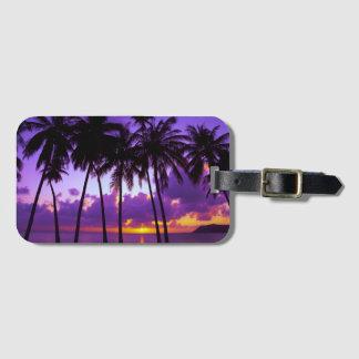 Purple Tropical Sunset Luggage Tag