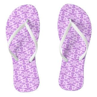 Purple tulip blue pattern flip flops