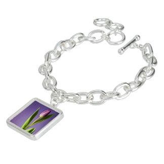 Purple tulip charm bracelets