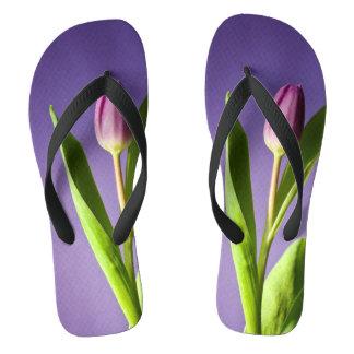 Purple tulip flip flops