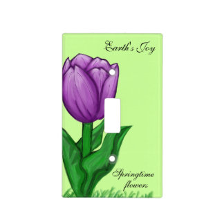 Purple Tulip Floral Light Switch Cover