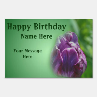Purple Tulip Flower Happy Birthday Yard Sign