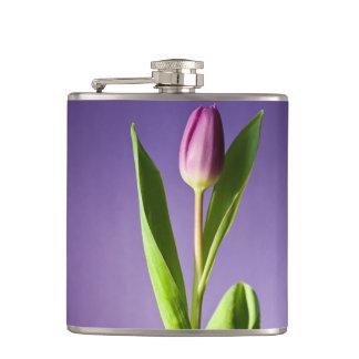 Purple tulip hip flask