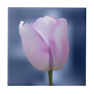 Purple tulip on blue background tile