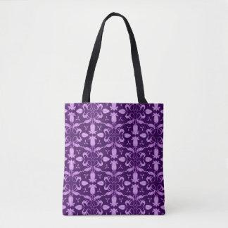 Purple tulip patterned floral damask bag