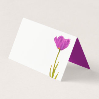 Purple tulip watercolor art guest place cards