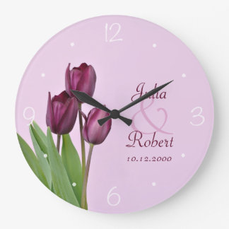 Purple tulips anniversary large clock