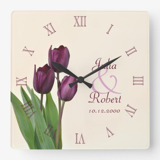 Purple tulips anniversary square wall clock