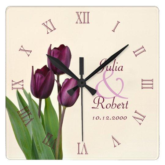 Purple tulips anniversary wall clocks