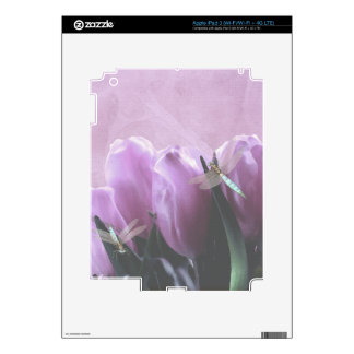 Purple Tulips Aqua Dragonfly Electronics Skins Decal For iPad 3