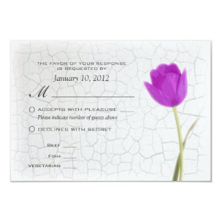 Purple Tulips Crackle Paint RSVP w/ Meal Options Card