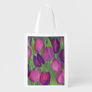Purple Tulips Design Reusable Tote