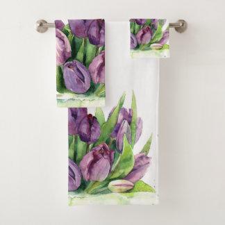 Purple Tulips Floral Watercolor Pattern Bath Towel Set