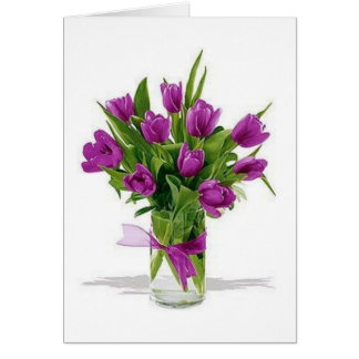 purple tulips in vase card