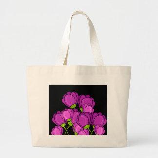Purple tulips large tote bag