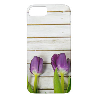 purple tulips on wood iPhone 8/7 case