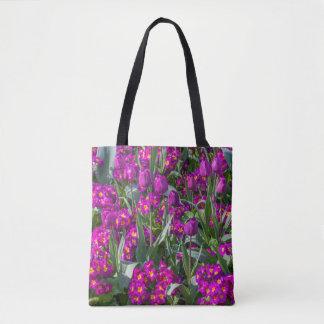 Purple tulips & primroses all-over-print tote bag