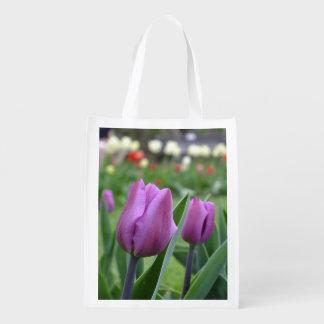 Purple Tulips Reusable Tote Bag
