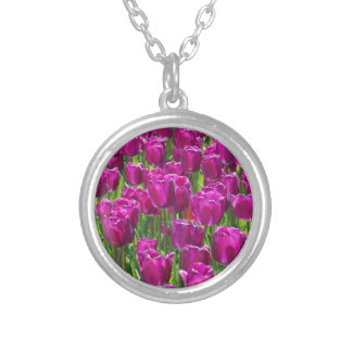 Purple Tulips Silver Plated Necklace