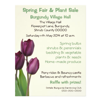 Purple tulips spring fair or plant sale flyer