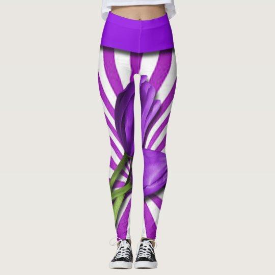 Purple Tulips & Stripes Leggings